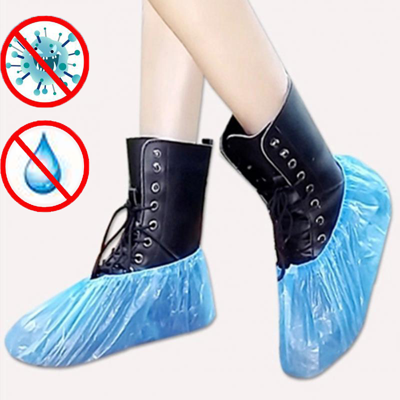 100Pcs Disposable Plastic Dust Proof Feet Covers Outdoor Cleaning Shoe Cover Blue  Waterproof Boot Covers Homes ShoeS Cover