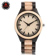 REDFIRE Maple Ebony Wood Watch Men's Wooden Clock Quartz Men