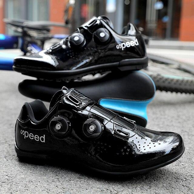 Alta qualidade dupla fivelas sapatos de ciclismo mtb respirável auto-bloqueio sapatos de bicicleta profissional tênis de estrada da bicicleta cleat sapatos 5