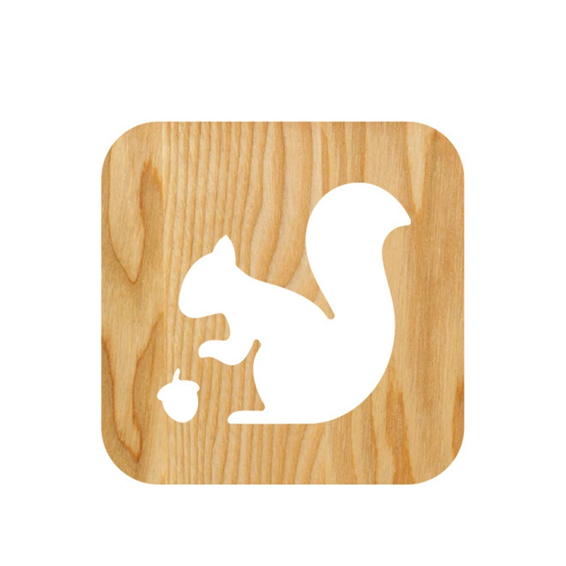Wooden Squirrel Lamp Kids Bedroom Decoration Warm Light LED USB Night Light For Children Gift