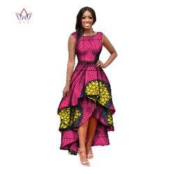 Ropa africana para mujeres cuello redondo vestidos Dashiki africanos vestido de algodón sin mangas vestido de impresión Africana tamaño grande Natural 4xl WY447