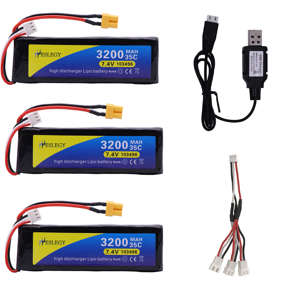 7.4V 3200mAh 35C <font><b>2S</b></font> Lipo <font><b>Battery</b></font> XT30 Plug with USB Charger for MJX Bugs 3 B3 RC Quadcopter Spare Parts 7.4 V toy <font><b>Battery</b></font> parts image