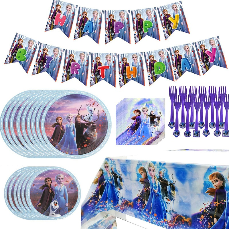 Disney Frozen 2 Anna And Elsa Princess Toys Birthday Party Toy Decorations Kids Disposable Tableware Decorations Supplies Toys