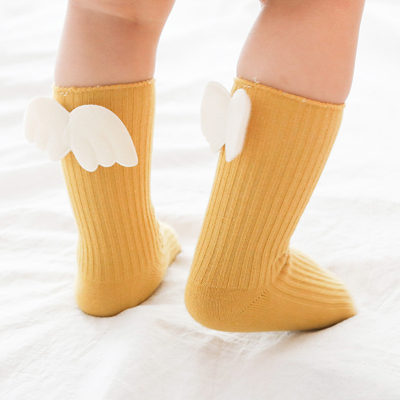 Newborn Baby Kids Socks Toddlers Girls Knee High Angle Wing Socks With Rubble Soles Leg Warmer Baby Clothing