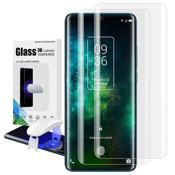 Перейти на Алиэкспресс и купить Закаленное стекло для TCL 10 Pro, защита для экрана, УФ-пленка, полное покрытие, разблокировка отпечатков пальцев, мобильный телефон, аксессуары