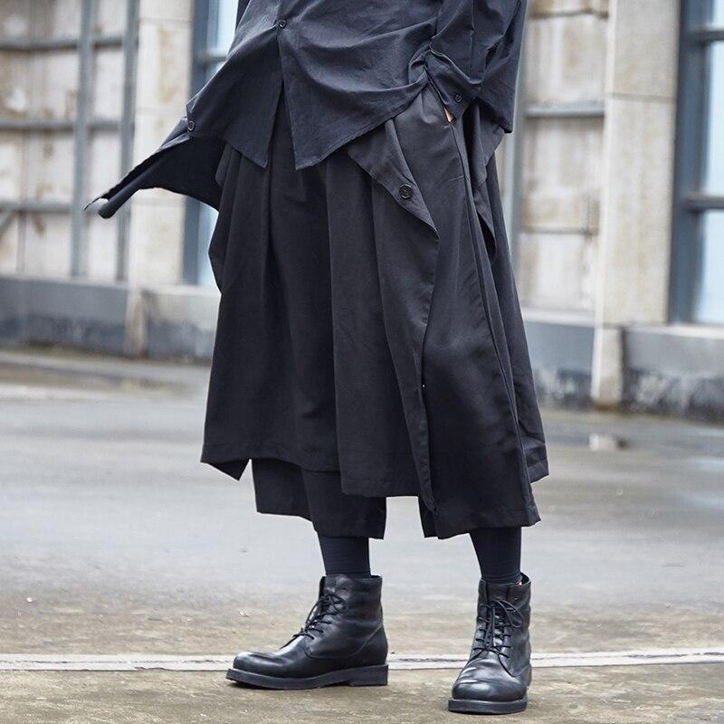 Male Japan Streetwear Hip Hop Punk Gothic Harem Kimono Pants Men Two Style Wear Loose Casual Wide Leg Pants Skirt Trousers