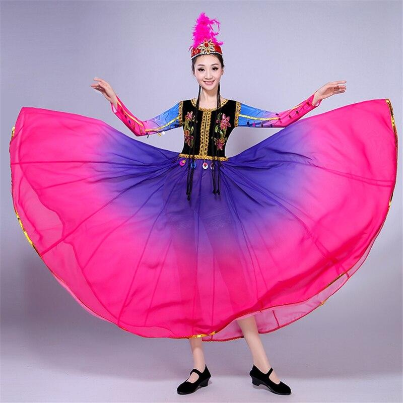 Новинка, хит продаж, женская танцевальная одежда для национального представления, открытая танцевальная большая юбка для танцев, женский