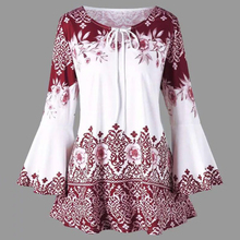 New Fashion trend Tie-print t-shirt Summer Print T-shirt  Women Casual Loose Round Neck Ruffle New Style Long Sleeve Tops long sleeve ornate print round neck t shirt