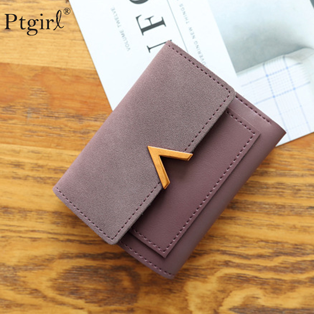 Matte Leather Small Women Wallet Luxury Brand Famous Mini Womens Wallets Ptgirl Magic Wallet Porta Moedas Feminino Cartera Mujer