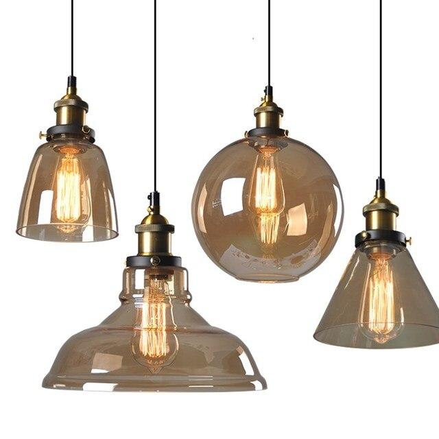 Lampes suspendues Vintage en verre lampes suspendues Loft lampe à suspension industrielle fumée gris lampara De Techo Colgante Lustre moderne pendentif