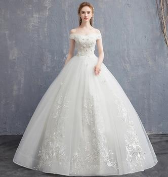 New Gorgeous Off the shoulder Boat Neck Ivory Ball Gown Lace Wedding Dresses Bridal Gown vestido De Noiva robe de mariee Luxury