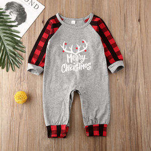 UK My 1st boże narodzenie noworodek dziewczynki chłopcy odzież renifer Plaid Romper odzież 0-18 miesięcy