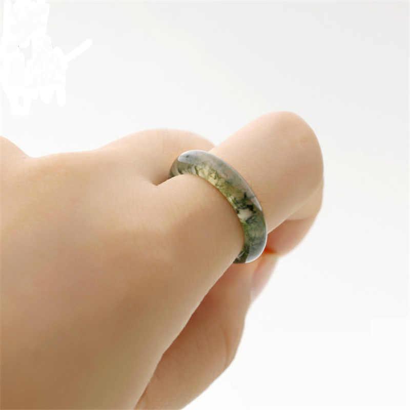 น้ำธรรมชาติหญ้าแหวน Moss Agate Chalcedony แหวนคนรักแหวนหินธรรมชาติหยกแท้เครื่องประดับเพิ่มใบรับรอง