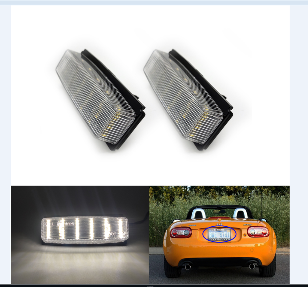 LED License Plate Number Lamp Signal Lights For Mazda MX-5 Miata 2006-2015.Powered by <font><b>18</b></font>-<font><b>SMD</b></font> Xenon White LED image