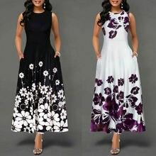 Женское платье Новое поступление цветочный принт без рукавов Летнее элегантное платье с круглым вырезом повседневные свободные шифоновые платья макси Vestidos