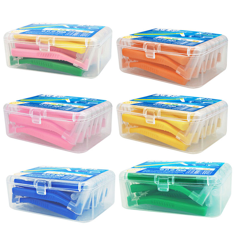 20Pcs/box L-shaped Push-Pull Interdental Brush Oral Care Kit Toothbrush Braces Cleaning Interdental Brush
