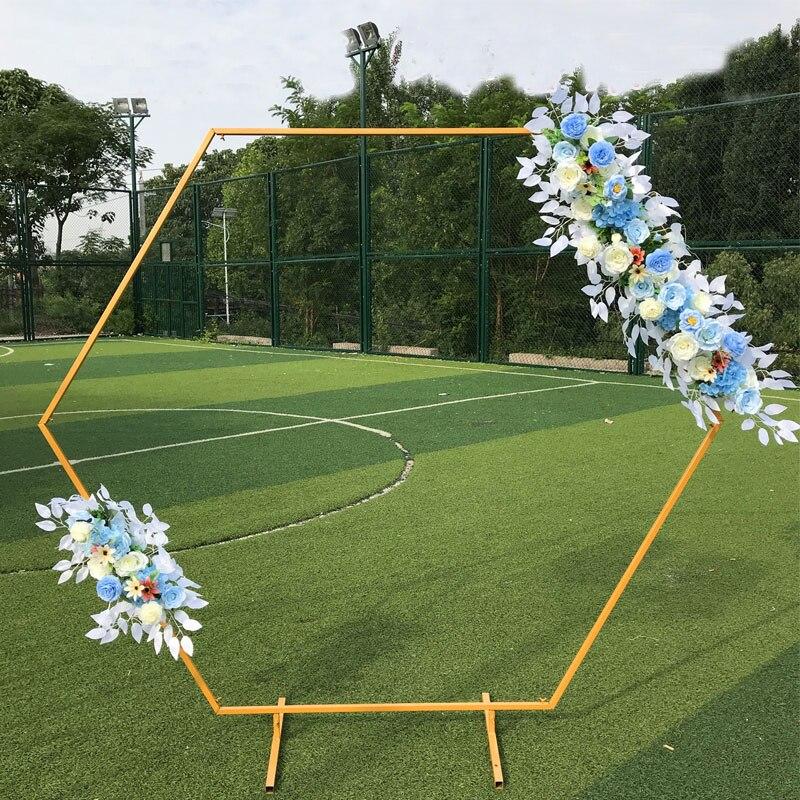 Wedding Arch Background  Hexagonal Wrought Iron Shelf Decorative Props DIY Round Party Background Shelf Flower with Framer