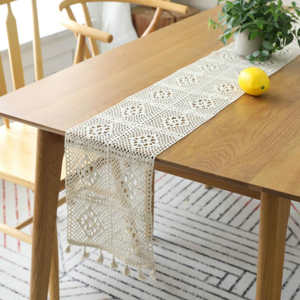 Macrame Table Runner Cotton Crochet Lace Boho Table Runner With Tassels For Wedding Home Dining Table Decor