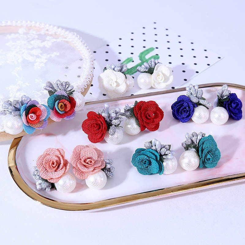 2019 Brincos de Spike Oorbellen New Coreano Manual de Arte de Pano Da Menina Flor Brincos Web Celebridade Lindo Jóias Vender Como Bolos Quentes
