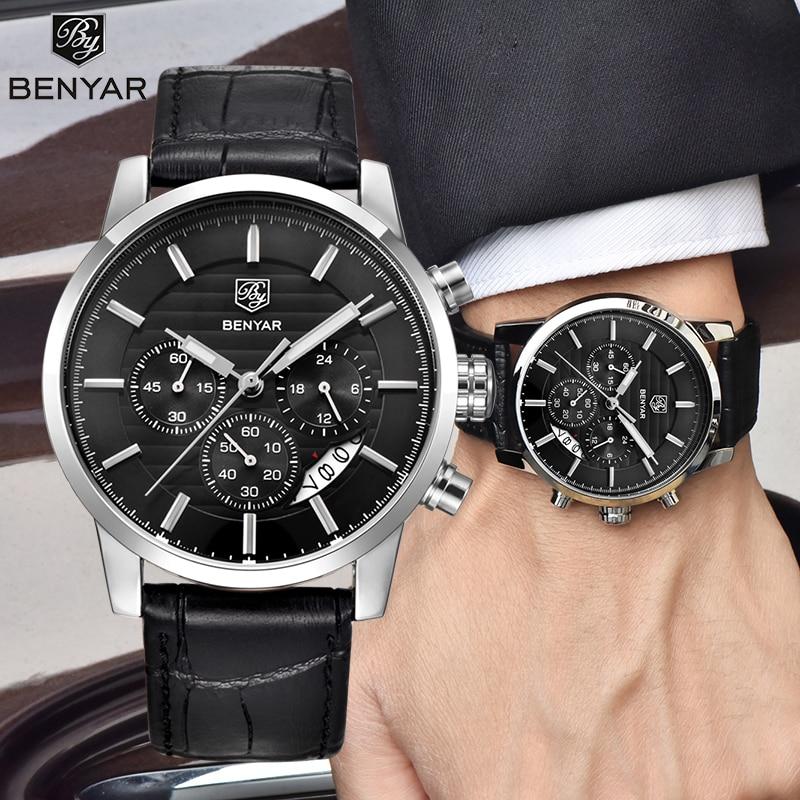 BENYAR Men's Watches Business Fashion Men Watch For Male Top Luxury Brand Wristwatch Mens Sport Chronograph Reloj Hombre 2019