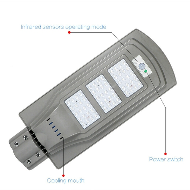 60W Solar Street Light With Remote Controller and Light Arm Waterproof Outdoor Garden Pathway Parking Lot Light 6