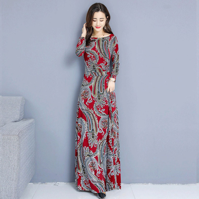 Bohemian Printing O-neck Long Dress  Long-sleeved  6