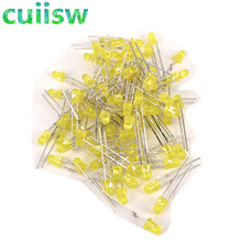 100 Pcs Kuning LED 3 Mm Kuning Light-Emitting Diode Kuning Menjadi Kuning