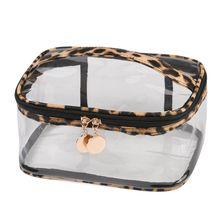 Fashion Large Capacity Leopard Print Cosmetic Bag With Handle Strap Transparent Makeup Pouch for Women Girls