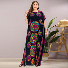 Siskakia Ethnic Colored Print Long Dress Summer 2020 Plus Size Women Dresses O Neck Short Sleeve Side Split Loose Casual Clothes