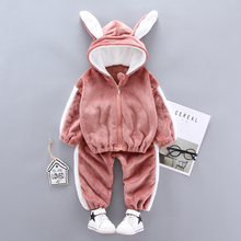 Children Winter Clothing Suit Rabbit infant Thick Warm Padded Clothes Boys Girls Hooded Jacket Pants 2Pcs/ste Baby Kid Tracksuit kid clothes sets children winter autumn tracksuit thick jacket hoodie pants for boys girls warm suit set in stock
