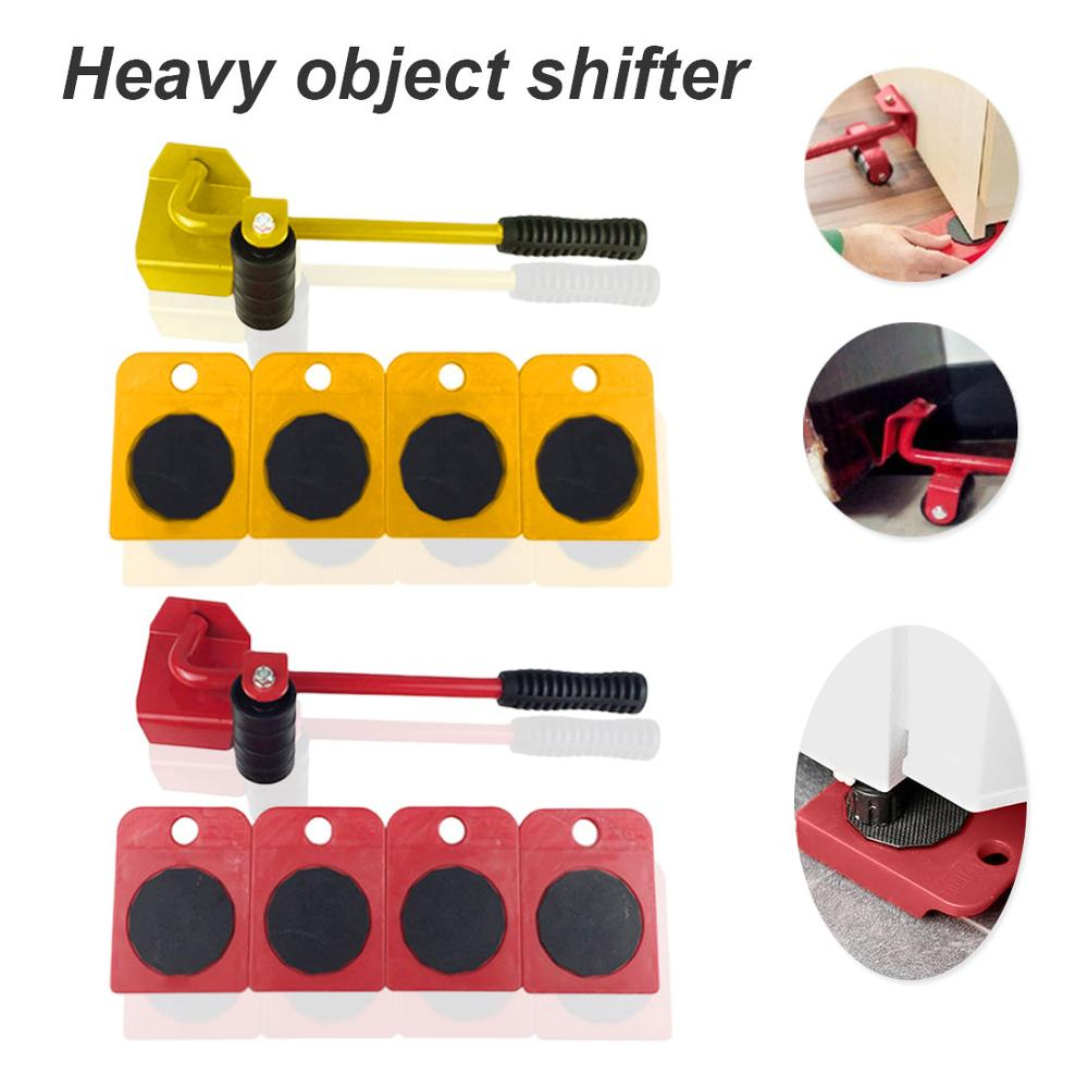 Square Heavy Duty Furniture Lifter Movers Tool Set Easy Portable Heavy Lifting Device and Gliding Lever System for Heavy Furniture wirh Include 1 Lifting Rod and 4 Furniture Moving Rollers