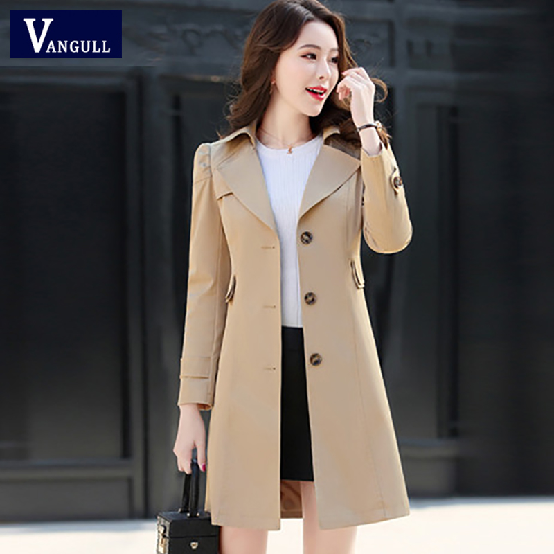 Vangull Women Classic   Trench   Coat 2019 Spring Autumn New Fashion Khaki Black Single Breasted Solid Slim Plus Size Wind Coat
