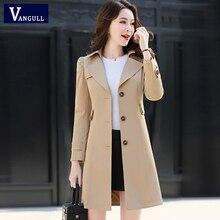 Vangull Women Classic Trench Coat 2019 Spring Autumn New Fashion Khaki Black Sin