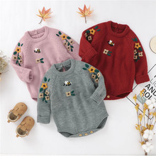 Blotona Newborn Baby Boy Girl Autumn Winter O-Neck Long Sleeve Embroidery Flowers Sweater Romper Fashion Knitted Jumpsuit 0-18M