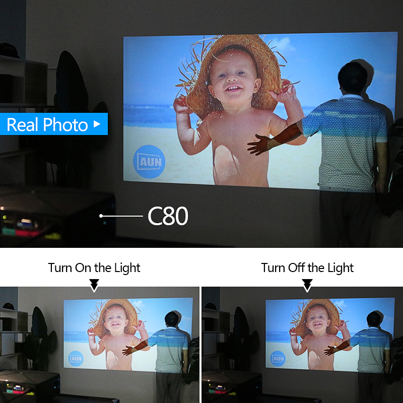 Image 5 - AUN MINI Projector C80UP, 1280x720P Resolution, Android WIFI Proyector, LED Portable 3D Beamer for 4K Home Cinema, Optional C80-in LCD Projectors from Consumer Electronics