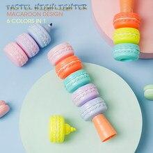 Andstal bonito kawaii 6 cores em 1 macaroon pastel cor caneta highlighter cor macia para escola marcador papelaria hilighter