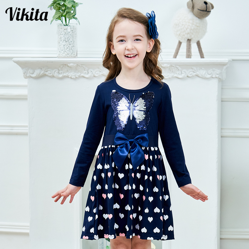 VIKITA Kids Autumn Dress For Girls Children Sequined Dress Girls Butterfly Dresses Toddlers Kids Long Sleeve Cotton Vestidos