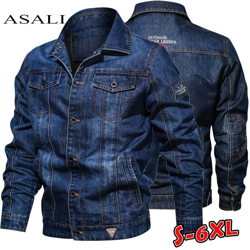Denim Jacket Men's Spring Autumn Casual Mens Jeans Jackets Multi-pocket Male Cowboy Coats Lapel Embroidery Big Size 6XL Solid