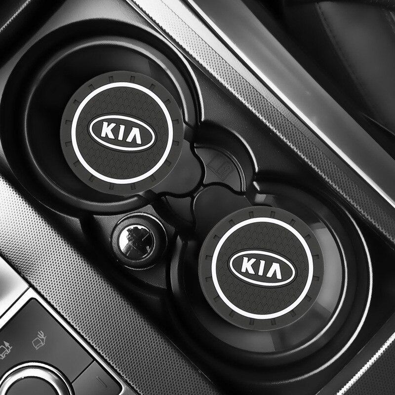 2 pièces voiture Auto eau tasse fente tapis antidérapant accessoires pour KIA sportage ceed kia sorento accessoires 2017 2018 voiture accessoires