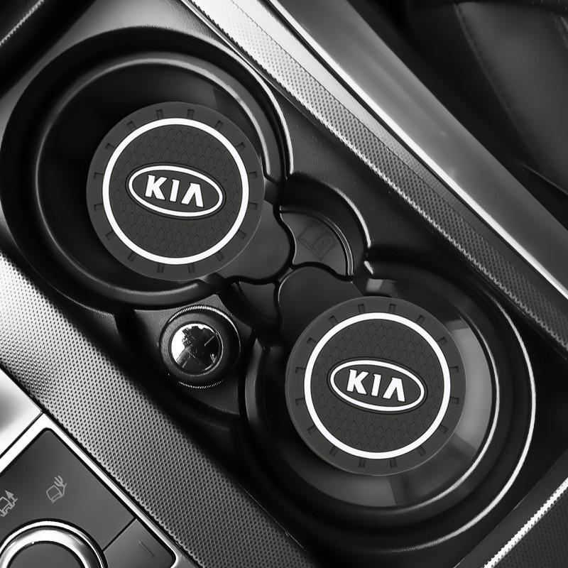 2pcs Car Auto Water Cup Slot Non-Slip Mat Accessories For KIA Sportage Ceed Kia Sorento Accessories 2017 2018 Car Accessories