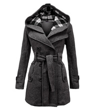 Women Winter Coat Hooded Belt Double-breasted Long Sleeve Clothes Casacos De Inverno Feminino 2019