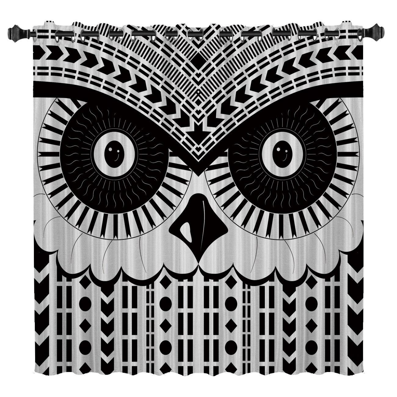 Abstract Geometric Art Owl Pattern Window Treatments Curtains Valance Window Curtains Dark Bathroom Curtains Bedroom Kitchen