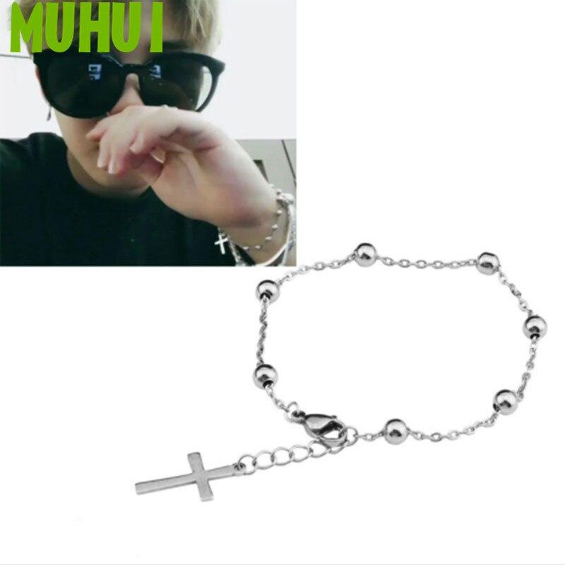 Kpop Star JIMIN Same Style Titanium steel Cross Beads Chain Bracelet Women Never Fade Jewelry B085(China)