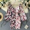 Spring Summer Long Sleeves Women Floral Dress Fold Mini Sexy  Vestidos Elegantes Slim Dress V Neck Lantern Sleeve Short Dress 1