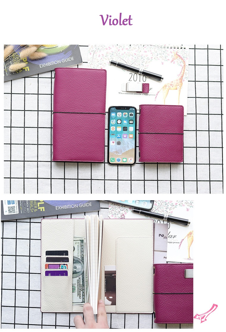 Novo litchi grão de couro viajante notebook