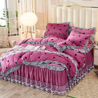 Magic Velvet Warm Duvet Cover Pillowcase Bed Skirt 4 Pieces Princess Romantic Thick Warm Bed Linen Bean Paste Wave Point