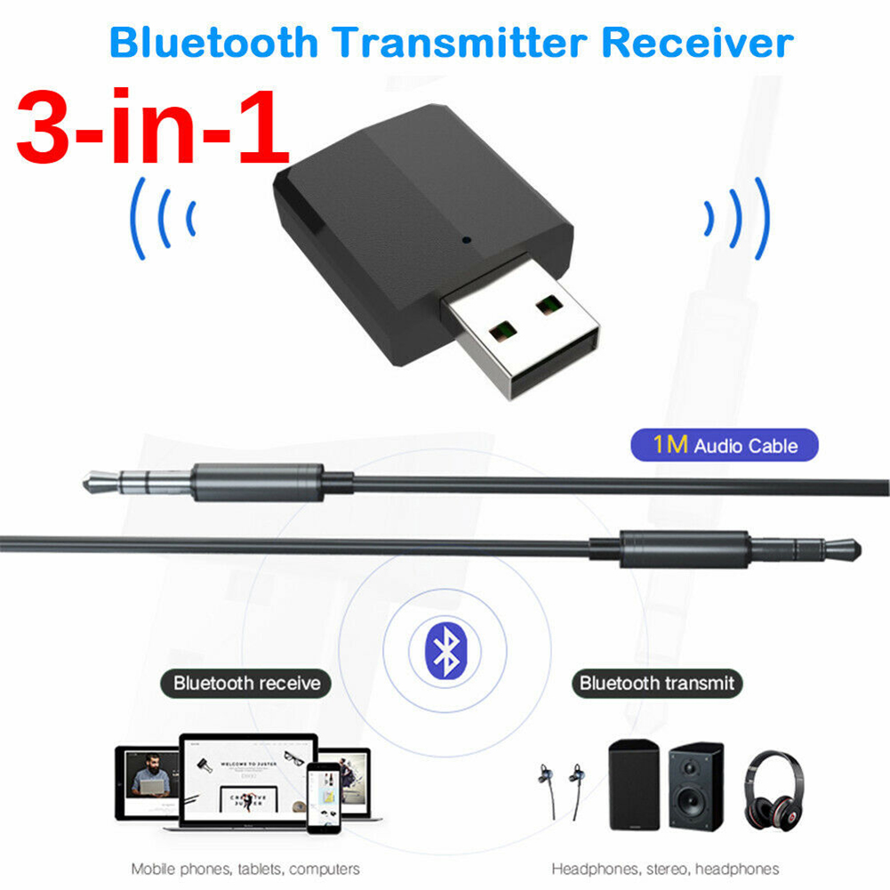 3 In 1 <font><b>USB</b></font> <font><b>Bluetooth</b></font> <font><b>5.0</b></font> Adapter Transmitter TV Receiver Wireless Adapters for PC Car Kit with Switch Button for speakers image