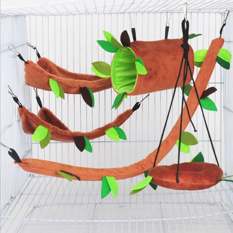 Plush Small Pet Toy Hanging Forest Leaf Swing Hammock Ropeway Beds Hamster Cage Decor Small Animal Supplies C42