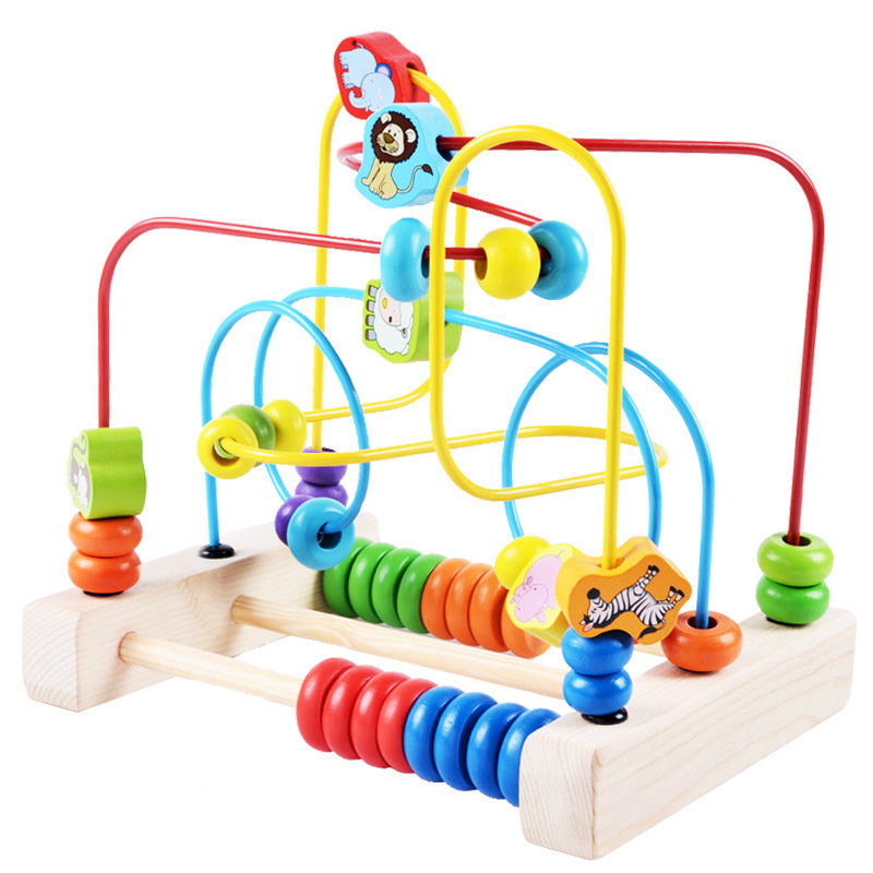 Wooden Bead-stringing Toy Toy Exercise Hand-Eye Coordination Toy Infants Educational Toy