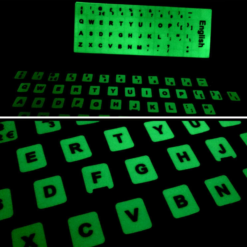 Luminous Waterproof Keyboard Stickers Fluorescent Keyboard Stickers Protective Film Layout with Button Letters for English key-0